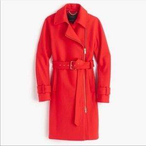 J crew Red Melton wool trench coat Gold details